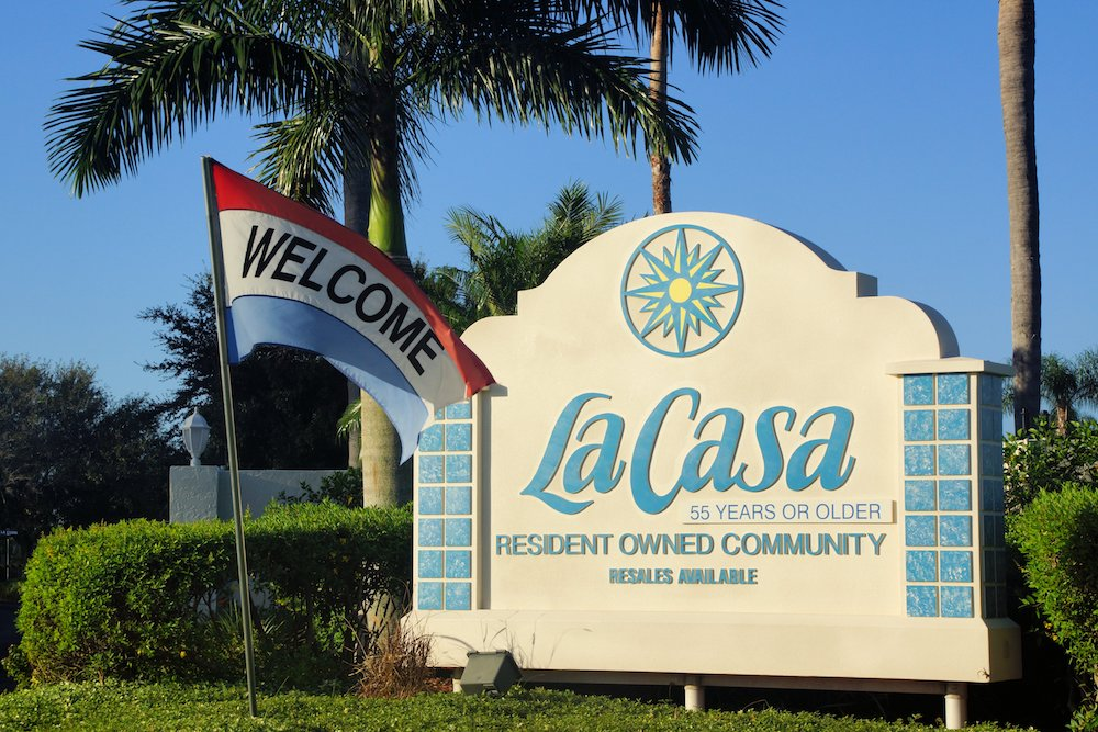 Entrance to Front of La Casa Mobile Home Park Community