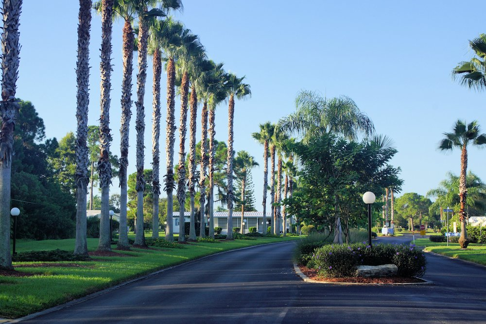 View of El Prado Entrance to La Casa Mobile Home Park