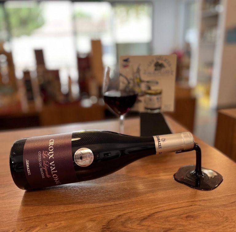 Bouteille vin rouge Côtes du Rhône Croix Vallong
