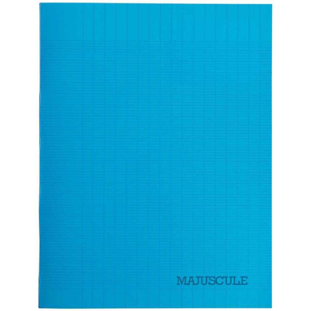 cahier piqures grand carreaux polypropylene 17x22 64p 90g bleu