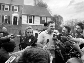 Ruslan Tsarni, uncle of Boston Marathon plotters Dzhokhar and Tamerlan Tsarnaev, speaks to a mob of reporters in front of his home on April 19, 2013, in Montgomery Village, Maryland.