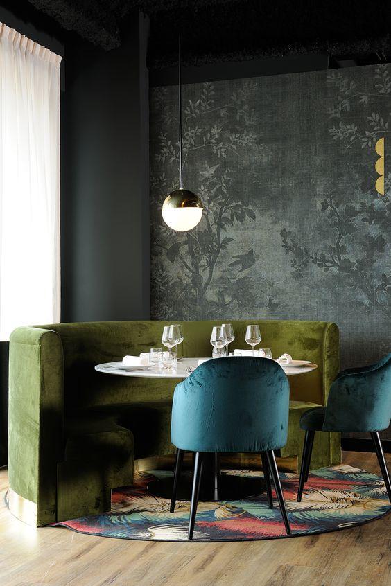 Greenery | PANTONE Color of the Year 2017 | Selected by La Chaise Bleue (lachaisebleue.com) | RESTAURANT LA FORÊT NOIRE (LYON) by Claude Cartier Studio