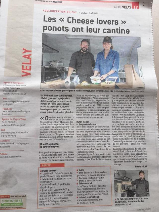 article sur le food truck LA CHEESE CANTINE au le puy en velay