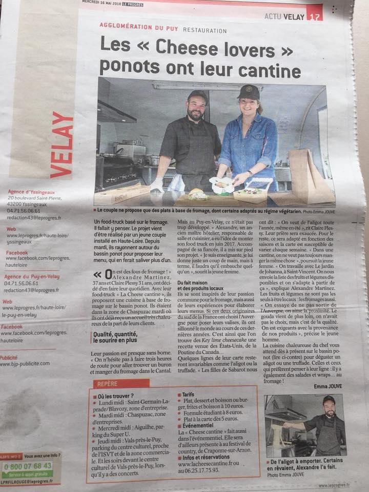 article sur le food truck LA CHEESE CANTINE au le puy en velay