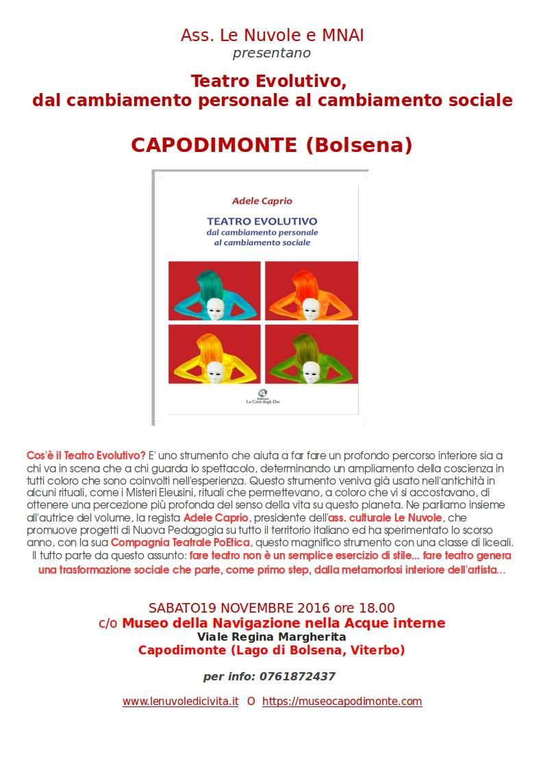 19 Novembre – Capodimonte – Viterbo    Presentazione del libro Teatro Evolutivo di Adele Caprio
