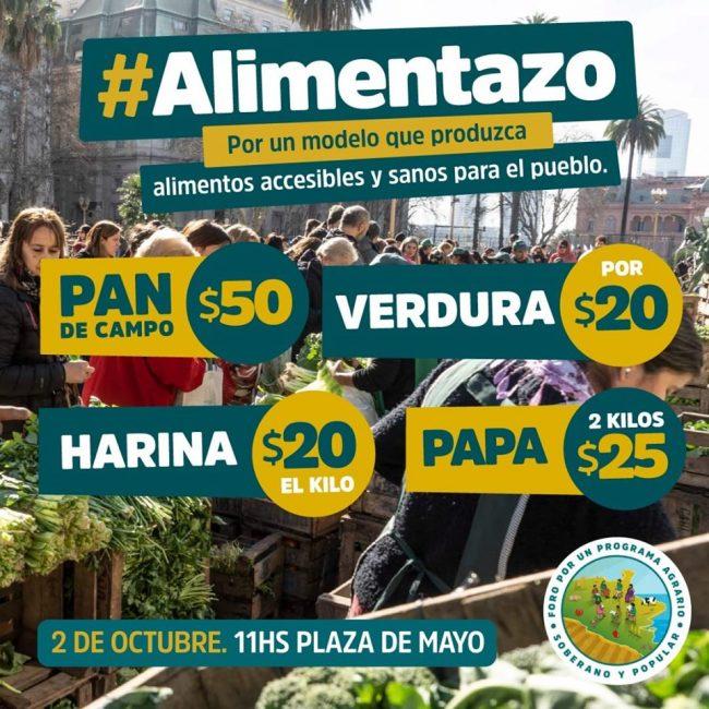 Alimentazo en Plaza de Mayo: verduras a $ 20, pan a $50 el Kg. y harina a $ 20 1