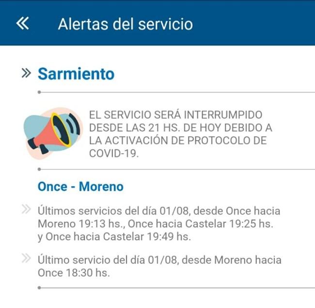 El Sarmiento interrumpe hoy el servicio a las 21 hs. por casos de Covid 1