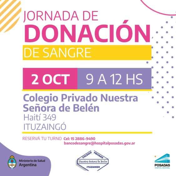 Ituzaingó: Se hará una colecta de sangre a beneficio del Hospital Posadas en el colegio Nuestra Señora de Belén 1