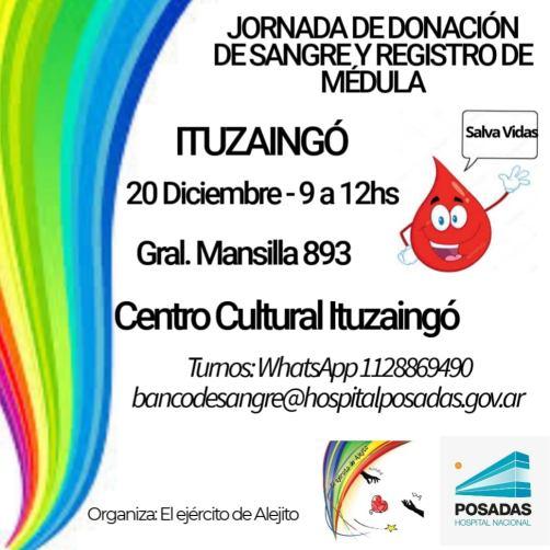 Ituzaingó: El Ejército de Alejito realiza una jornada de donación de sangre y registro de médula ósea 2