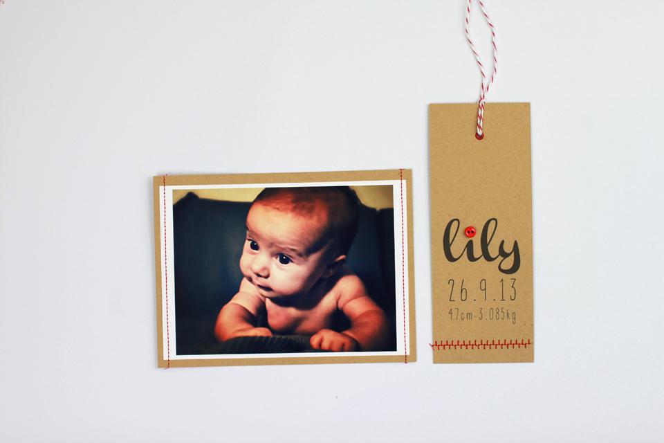 faire-part Kraft naissance lily