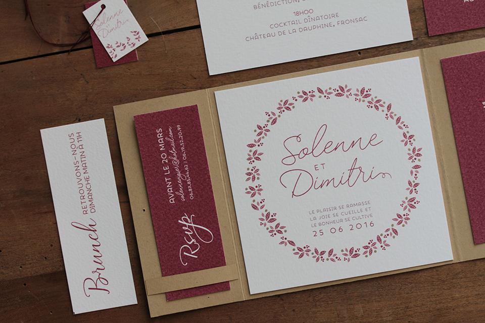 Faire-part mariage kraft & wine 1