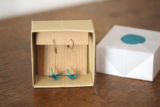 boucles d'oreilles origami bleues