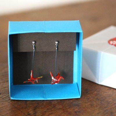 boucles d'oreilles origami rouge