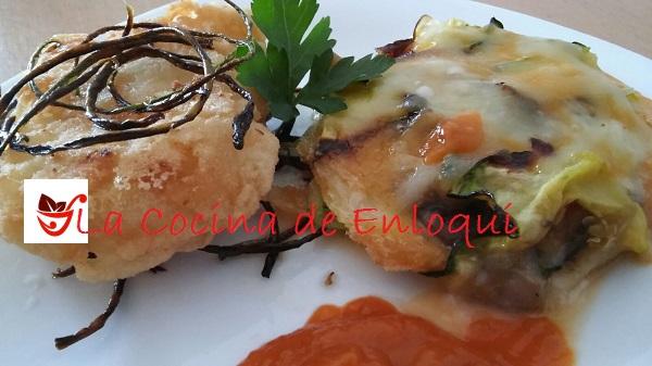 Bacalao rebozado con tartaleta de verdura