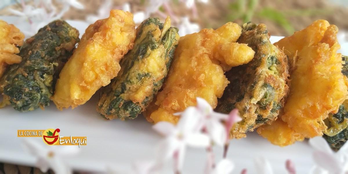 Buñuelos de bacalao y buñuelos de acelgas