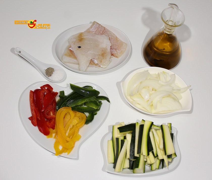Ingredientes para Bacalao con verduras