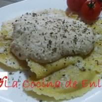 Raviolis con salsa de setas
