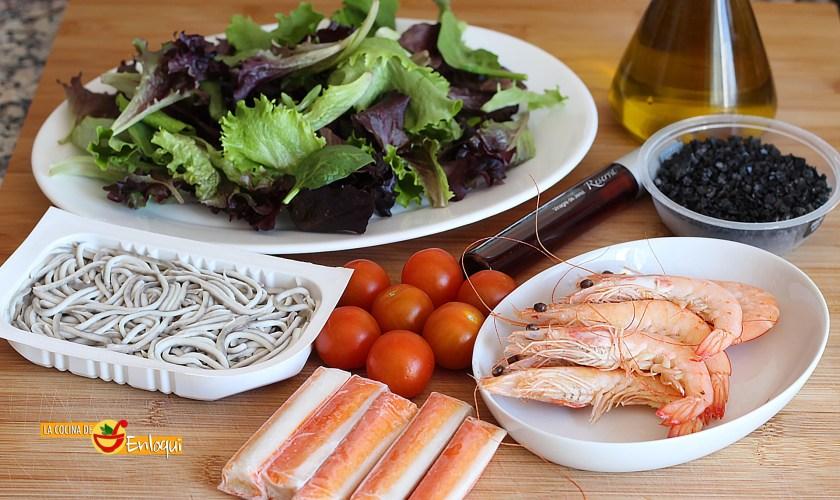 Ingredientes para ensalada con plateadas de mar