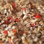 ceviche de shiitake, champiñones y pimientos