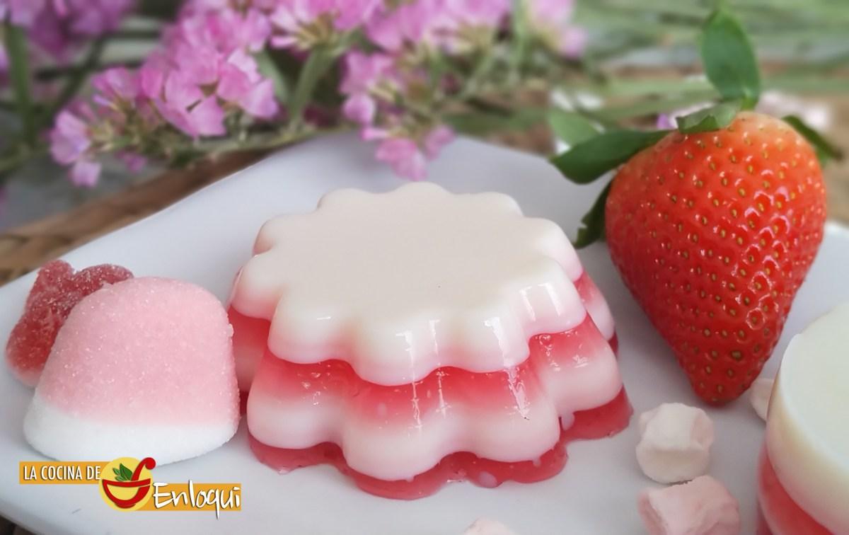 Gelatina de fresa y leche condensada