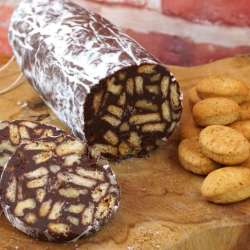 salchichón de chocolate con galletas y nueces