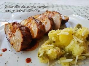 Solomillo de cerdo asado con patatas aliñadas