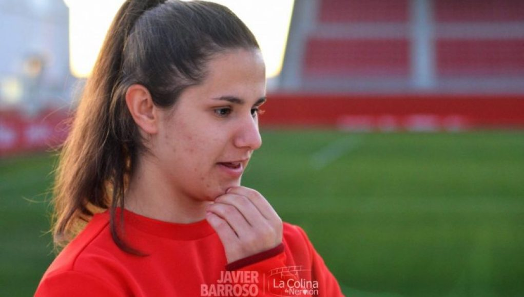 Helena Torres, ex del Sevilla Femenino, durante una entrevista con La Colina de Nervión