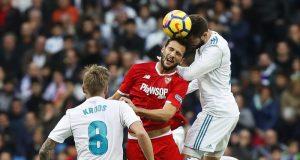 Imagen del partido entre el Sevilla y el Real Madrid en el Santiago Bernabéu | Foto: Sevilla FC