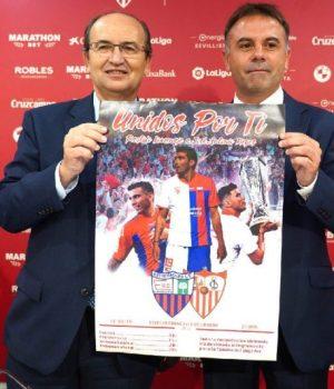 Castro presenta junto al presidente del Extremadura el cartel del amistoso de homenaje a Reyes | Imagen: Sevilla FC