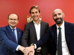 Castro y Monchi, con Lopetegui, en la presentación del vasco como nuevo técnico del Sevilla | Imagen: Sevilla FC