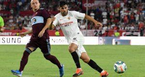 Nolito durante una jugada contra el Celta, no estará en Vitoria por lesión |Imagen: Sevilla FC