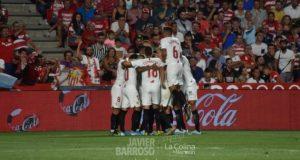 El equipo celebra el gol de la victoria | Imagen: La Colina de Nervión - Javi Barroso
