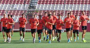 Parte de la plantilla del Sevilla, durante un entrenamiento   Imagen: Sevilla FC