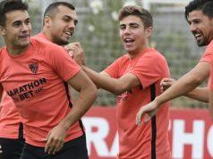 Sergio Reguilón, durante el entrenamiento con el Sevilla | Imagen: Sevilla FC