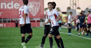 Pepe Mena, celebrando el tanto del triunfo del Sevilla Atlético ante el Córdoba | Imagen: La Colina de Nervión - Javi Barroso