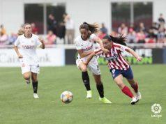 Maite Albarrán, en un lance del partido entre el Sevilla Femenino y el Atlético de Madrid Femenino | Imagen: LaLiga