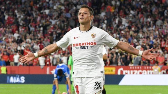 Chicharito celebra su gol ante el Getafe