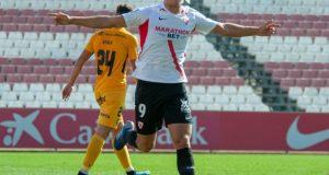 Pana, del Sevilla Atlético, celebrando un tanto ante el UCAM Murcia | Imagen: Sevilla FC