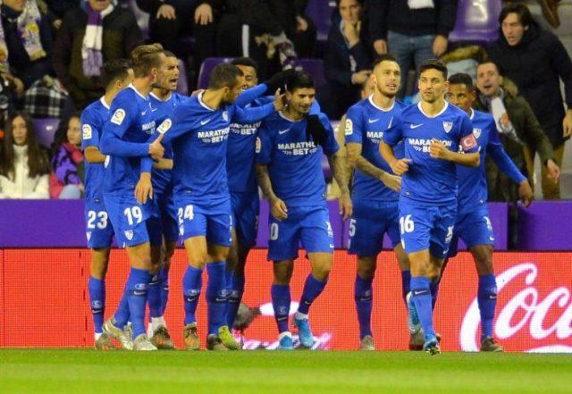 Banega celebra con sus compañeros el gol en Valladolid.   Fuente: LaLiga
