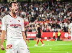 Franco Vázquez, celebrando el tanto conseguido para el Sevilla ante el Atlético de Madrid | Imagen: Sevilla FC