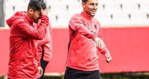 Navas, junto a Nolito, en un entrenamiento del Sevilla | Imagen: Sevilla FC