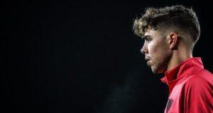 Alejandro Pozo, durante un entrenamiento del Sevilla | Imagen: @Alex_Pozo9