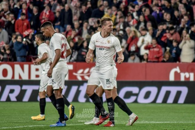 Luuk de Jong, tas marcar el primer tanto del Sevilla FC frente al Granada   Imagen: La Colina de Nervión - Javier Barroso