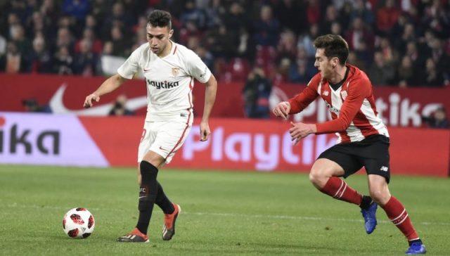 Munir jugando frente al Athletic en el Ramón Sánchez-Pizjuán