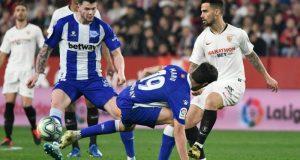 Suso, durante el partido entre Sevilla y Alavés que acabó con gol de Lucas Ocampos y empate a uno | Imagen: Sevilla FC
