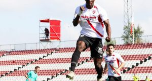 Diabate, celebrando un tanto conseguido con el Sevilla Atlético | Imagen: La Colina de Nervión - Ana Marín