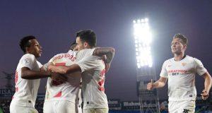 Lucas Ocampos, celebrando junto a sus compañeros el primer tanto del Sevilla FC de Julen Lopetegui en Getafe | Imagen: JAVIER SORIANO/AFP - Getty Images