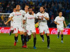 Los jugadores del Sevilla FC celebran el gol de Fernando en Getafe