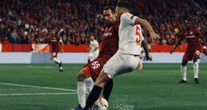 Ocampos, durante el partido del Sevilla FC frente al Cluj en la vuelta de dieciseisavos de final | Imagen: La Colina de Nervión - Ana Marín