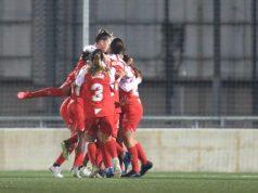 Las jugadoras del Sevilla Femenino, celebrando el tanto conseguido por Ana Franco en la Ciudad Deportiva Dani Jarque ante el RCD Espanyol | Imagen: Sevilla FC